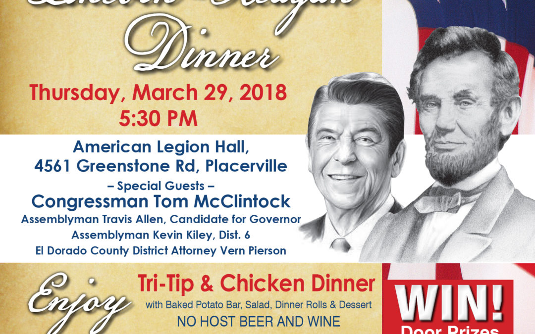 March 29th | 5:30 | Lincoln-Reagan Dinner | Click for Details
